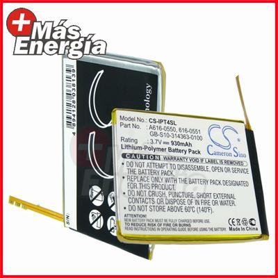 Batería p/ iPod Touch 4ta Generación, 616-0550, 930mAh, MasEnergia
